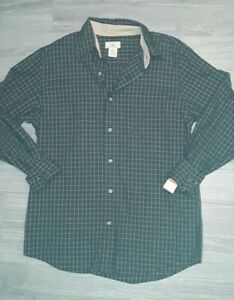Mens-DOCKERS-button-Up-Long-Sleeve-Plaid-3-In-1-Shirt-green-Size-Small-Nwts