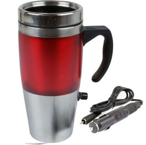 NEW 12V Auto USB Heated Travel Mug Stainless Steel Flask with Car /& USB Charger