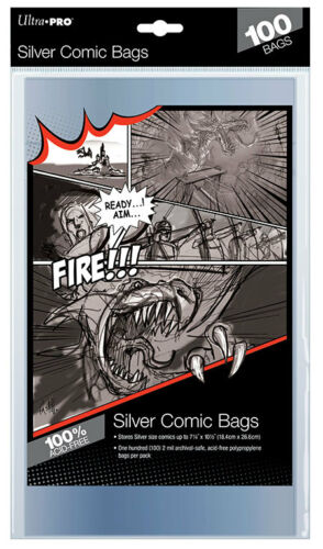 """1 Pack of 100 Ultra Pro 7 1//4/"""" Silver Age Comic Book Storage Bags Sleeves"""