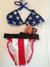 NEW Ujena Bikini Stars Stripes Wonder Woman Swimsuit Swimwear S/M Flag Red Blue