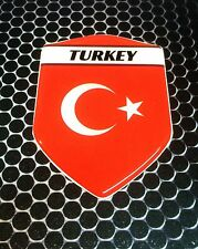 "Turkey Türkiye Proud Shield Flag Domed Decal Emblem Car Sticker 3D 2.3""x 3.3"""