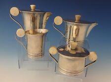 French .950 Sterling Silver Art Deco Tea Set Coffee Sugar Creamer #0145