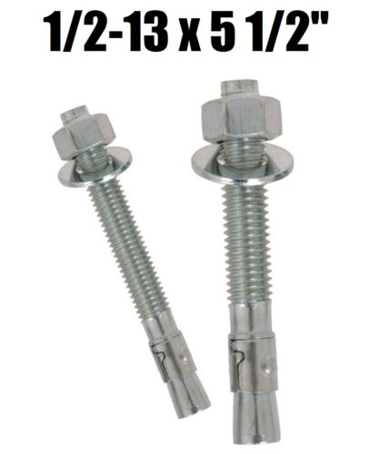 "1//2-13 x 5-1//2/"" Concrete Wedge Anchor Zinc Plated Qty 10"