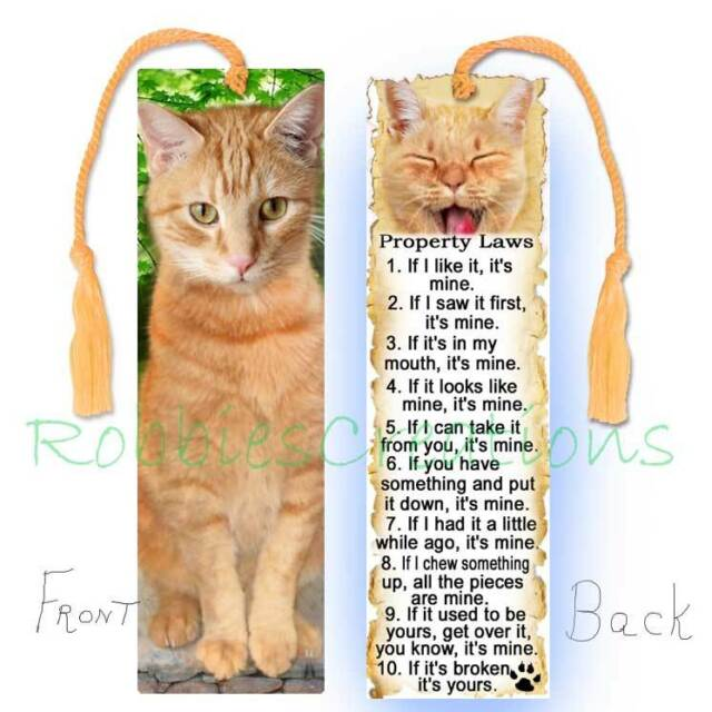 CAT ORANGE TABBY Large BOOKMARK TASSEL Ginger RULES Attitude Laws Art Book CARD