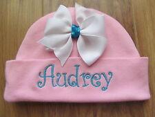 PERSONALIZED MONOGRAM CUSTOM Baby Beanie Infant Hospital Hat Cap Bow w/Turqoise