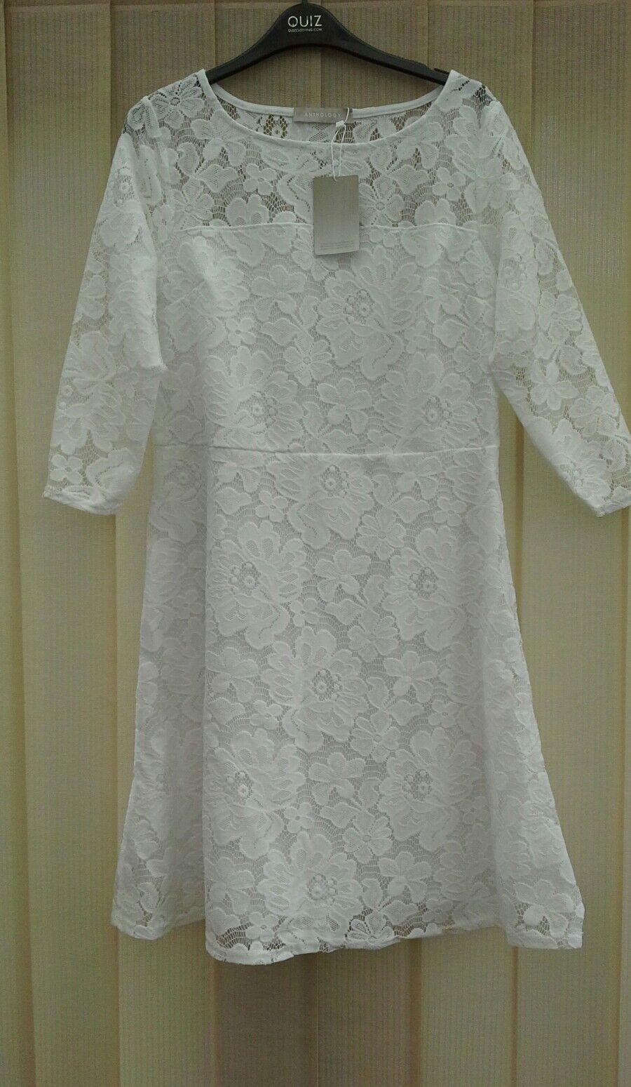 ANTHOLOGY WHITE LACE WEDDING DRESS GUIPUR  3 4 SL BRIDE HEN PARTY A LINE