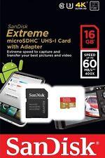 SanDisk Extreme 60MB/s 16GB microSD micro SDHC SD Class 10 UHS-1 U3 Card 4K