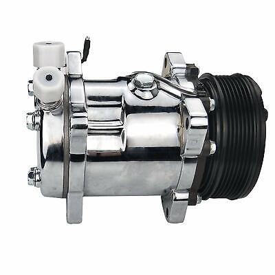 ACTECmax Universal A//C Chrome Compressor with Silver PV8 Clutch Sanden 508 5H14 R134A Serpentine Belt