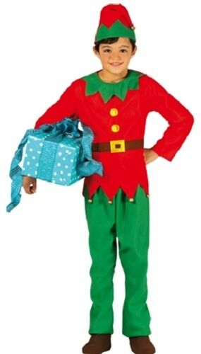 Boys Girls Child/'s Santas Elf Christmas Fancy Dress Costume Outfit 3-12 years