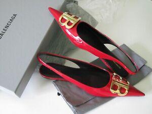 $850 Balenciaga AUTH NIB Knife BB Embellished Rouge Cardinal Ballet Flats 39