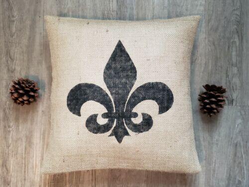 Custom natural burlap Fleur de lis BLACK pillow cover or custom color