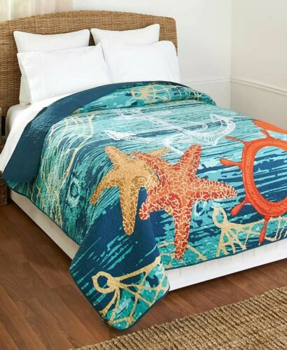 Nautical Full Queen Size Quilt Seashells Starfish Anchor/& Ship/'s wheel 1-Pc