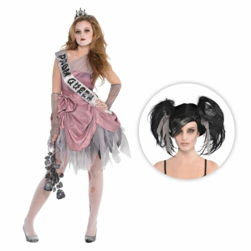 Girls Zombie Dead Prom Queen Teen Halloween Horror Fancy Dress Costume with Wig