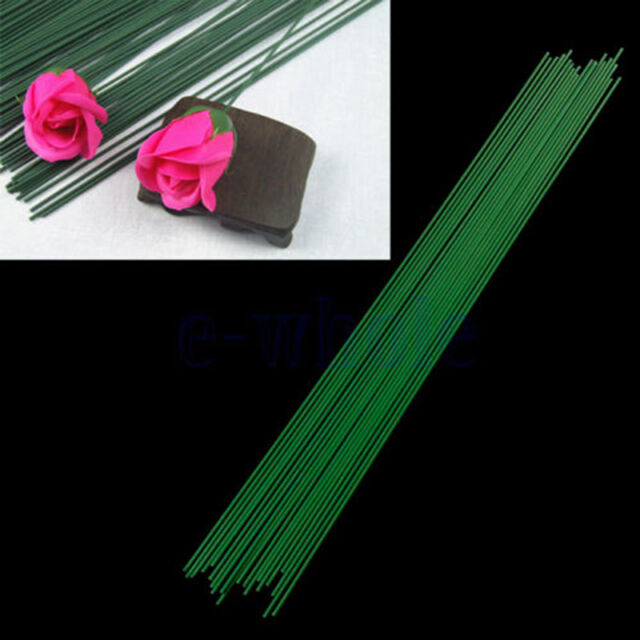 12Pcs Green Floral Tape Iron Wire Artificial Flower Stub Stem DIY Decor 60cm _$T