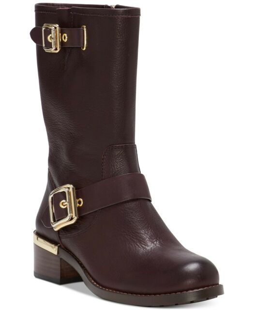 Vince Camuto Womens Windy Leather Round Toe Mid-Calf Motorcycle, Brown, Size 6.5