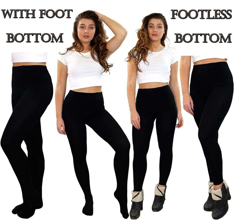 Franc Bottes Thermiques Épais Hiver Chaud Noir Extensible Femmes Footless & Pied Collants