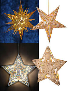 Details About Led Wooden Hanging Star Light Up Christmas Decoration Window Natural Carved