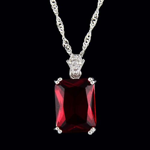 Pendentif Rectangle Rouge Rubis Or Blanc Plaqué Zircone Cubique libre Collier Chaîne