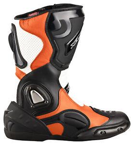 Neu-hochwertige-XLS-Motorradstiefel-Racing-Boots-schwarz-weiss-orange-Gr-40-47