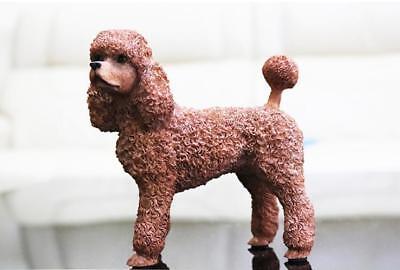 Resin MINI British Poodle dog Hand Painted simulation model Statue WHITE