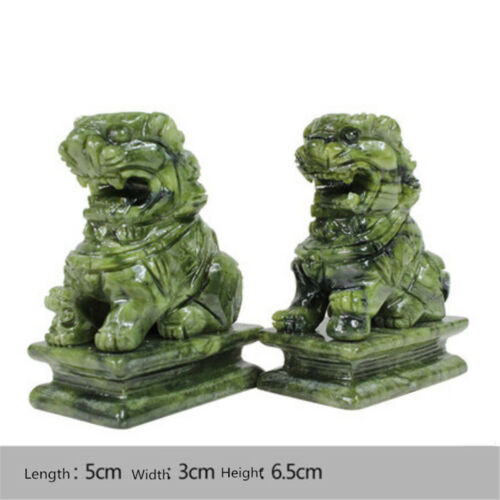1 Pair China Green Jade Carved Fengshui Foo Fu Dog Guard Door Lion Home Decor