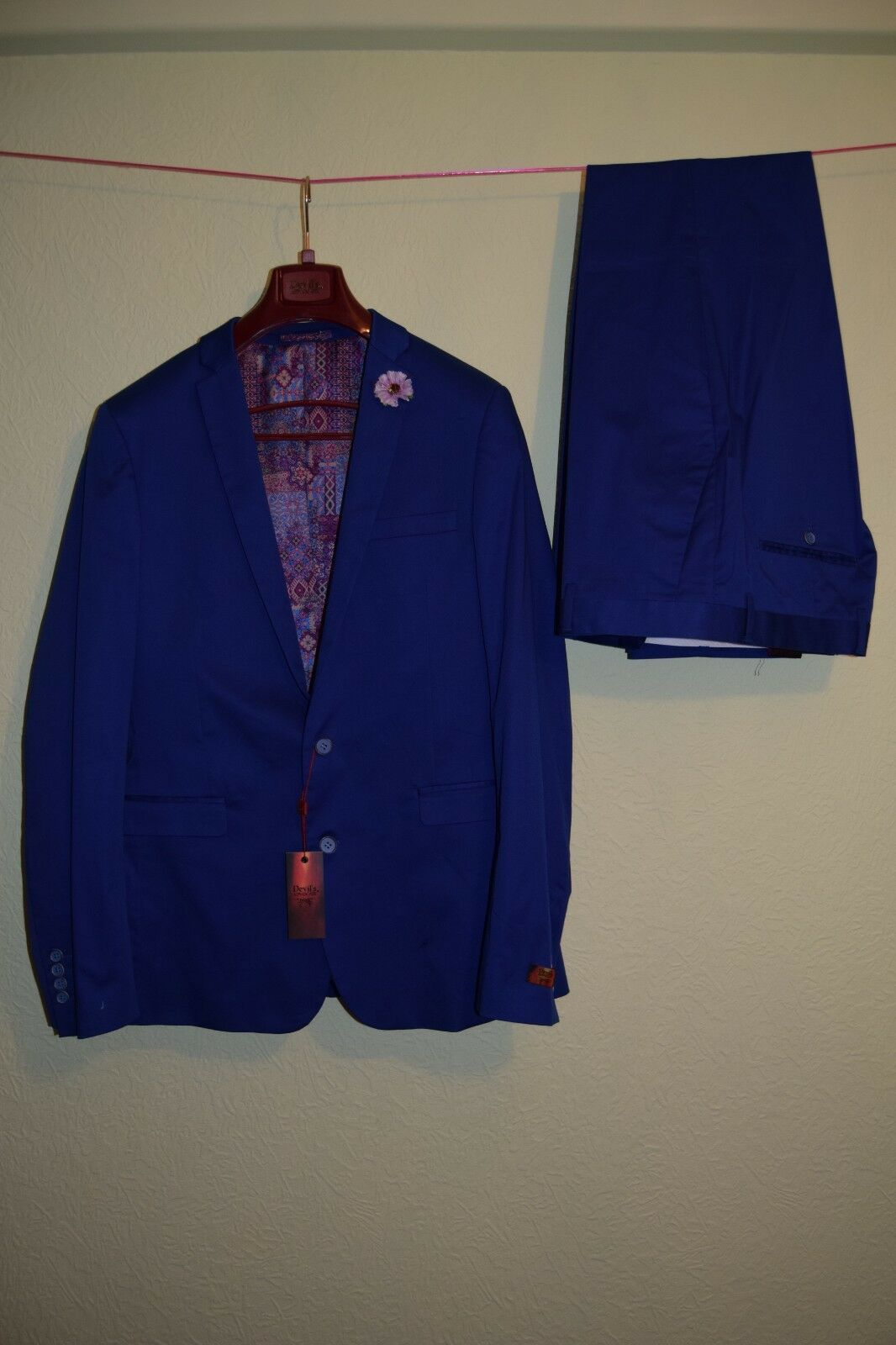 Devils Advocate Blau Slim Fit Men Suit Größe 44R