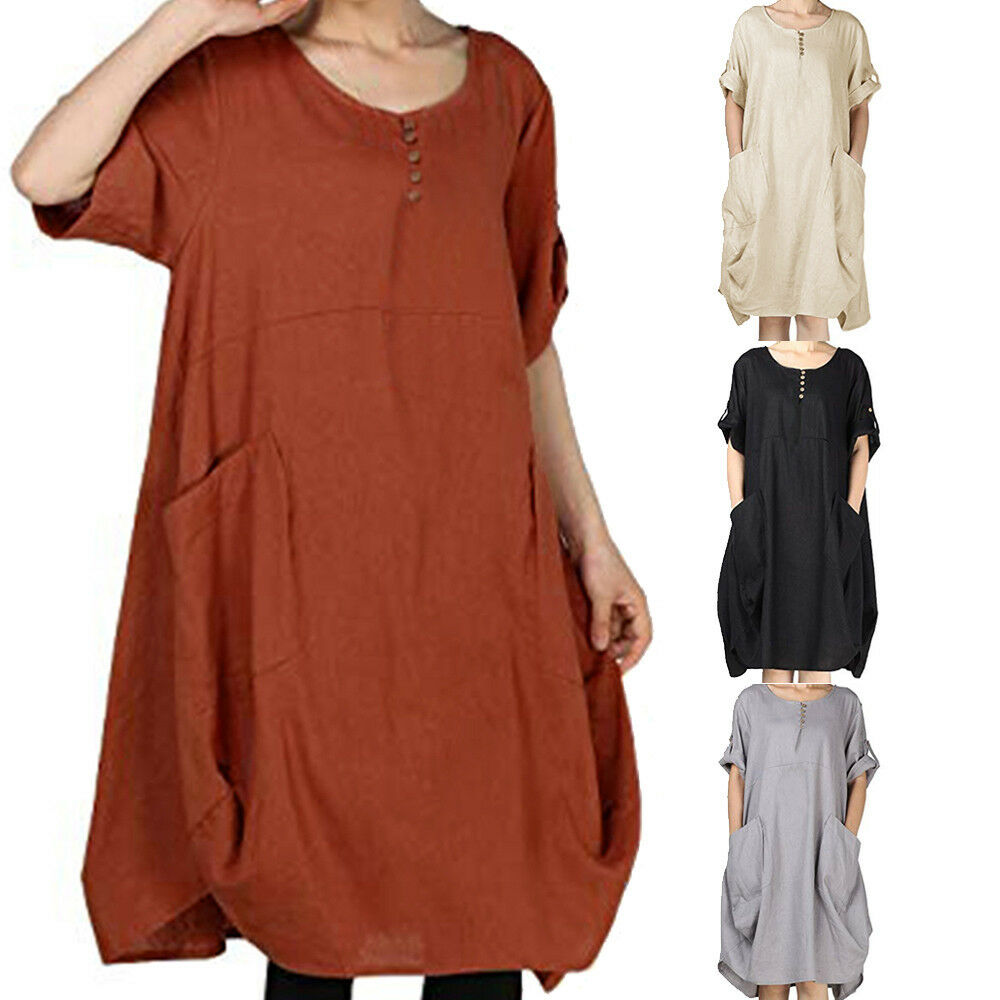 Fashion Large Size Women Button Solid Color Cotton And Linen Casual Dress Loose