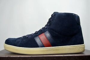c7ae9f7ee2c Details about Gucci Mens Navy Suede 337221 High-top Sneaker W/Brb Leather  Web Detail Brooklyn