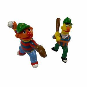Sesame Street Bert & Ernie Baseball Applause PVC Figure Figurine Set 1980s VTG