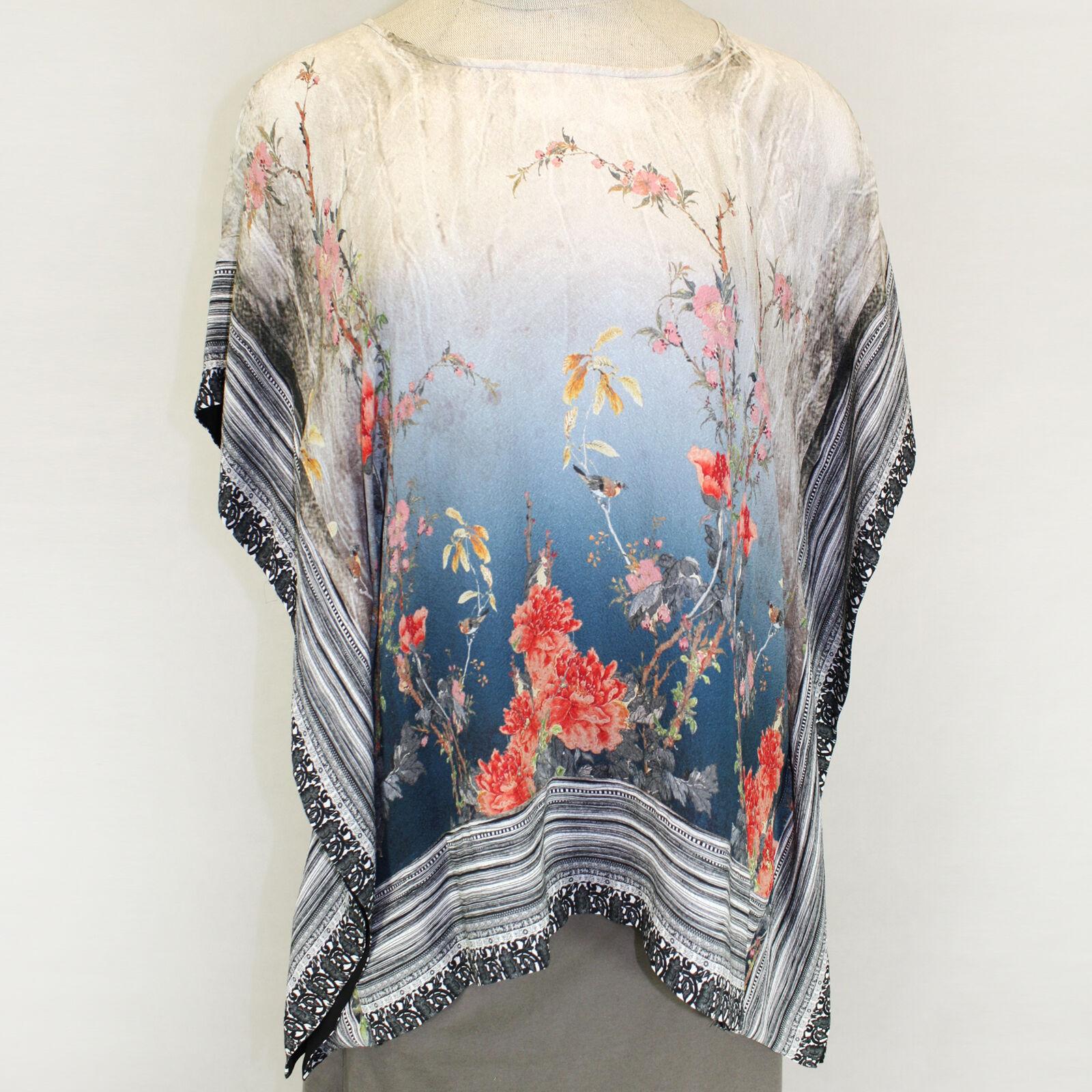 Citron Clothing 100% Silk Art To Wear Birds Blooms Fukure Tunic Blouse Plus 1X