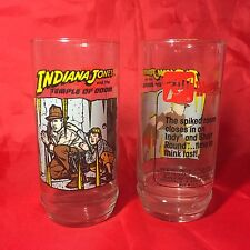 1984 INDIANA JONES AND THE TEMPLE OF DOOM  7up GLASSES (SET OF 2) Wendys