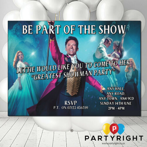 Personalised The Greatest Showman Birthday Party Invitations Invites Style 2