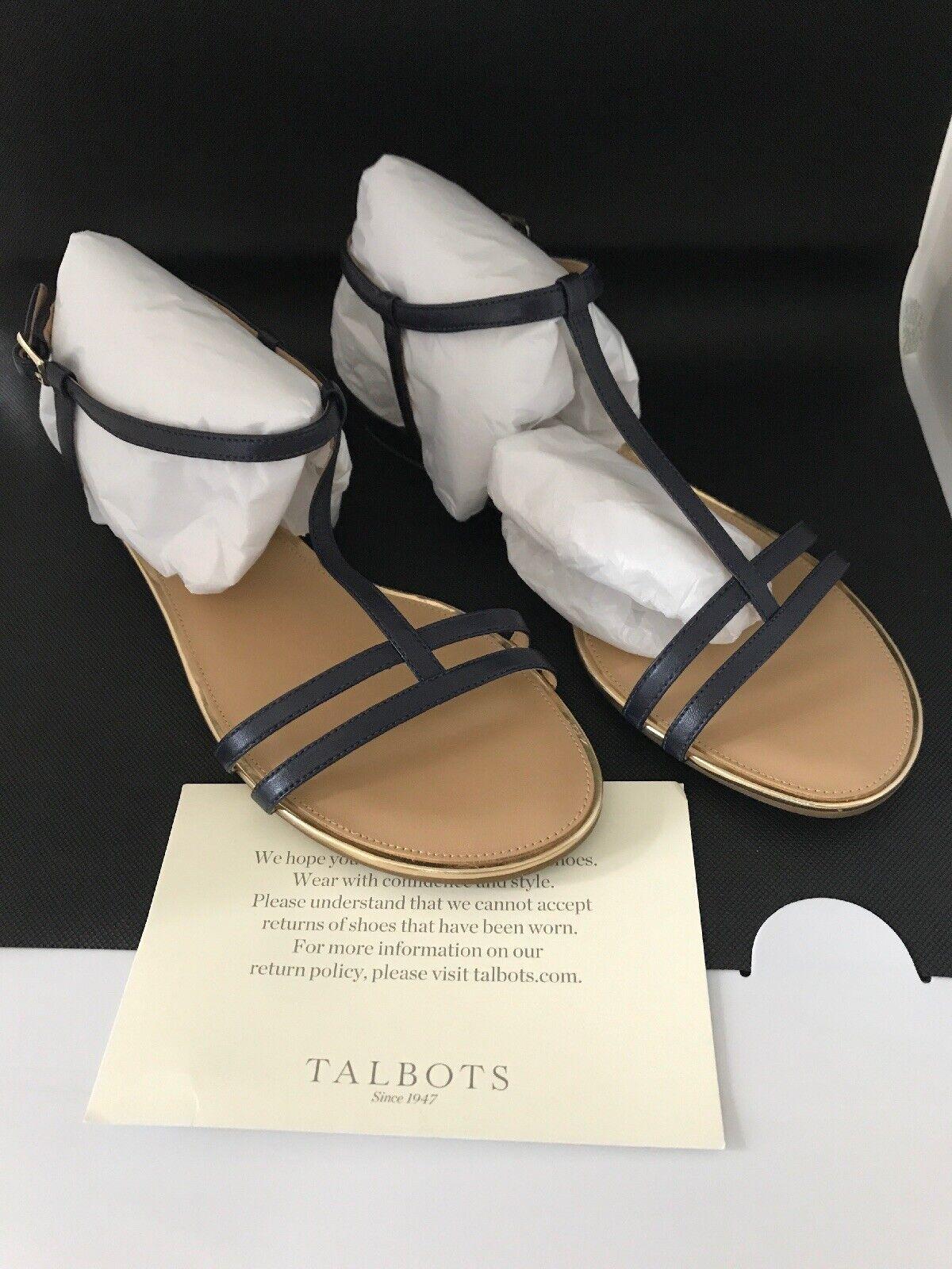 TALBOTS DAISY GLADIATOR MICRO-WEDGE SANDALS -LEATHER, INDIGO blueeE SIZE-10