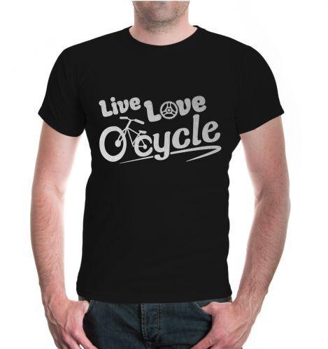 Cycle Fahrrad Liebe Fahrzeug Motiv Love Herren Unisex Kurzarm T-Shirt Live