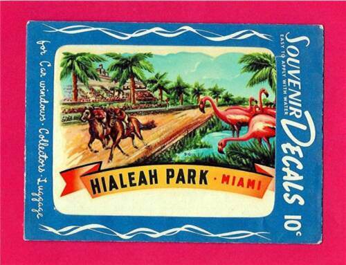 Hialeah Park Horse Racing 1951 Meyercord Souvenir Decal