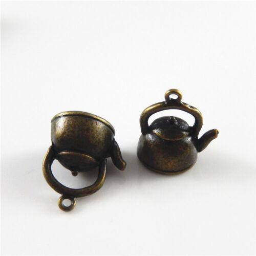 25pcs Antique Bronze Alloy Mini Kettle Pot Shaped Pendants Charms Jewelry Making