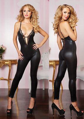 Black Shiny Wet Look Catsuit Jumpsuit Bodysuit Unitard Nylon Spandex Lame Oil