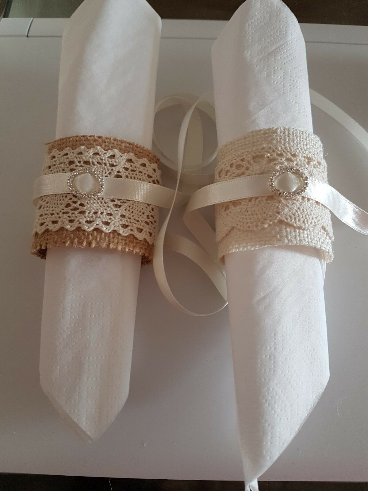Rustic Hessian And Lace Napkin Rings Serviette Holders Wedding Table Set Of 10 For Sale Ebay