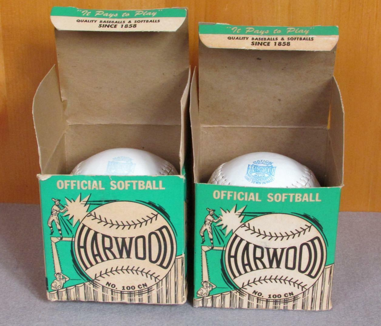 Vintage Harwood & Sons Leder Offiziell Softball Paar 12