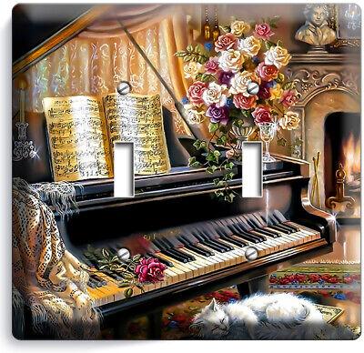 Grand Piano Keys Beethoven Flowers Vase Cat 2 Gang Light Switch Plate Room Decor Ebay