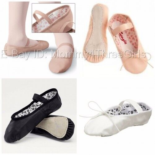 NEW Capezio Daisy Full Sole Leather Ballet Shoes Pink Black White Toddler Child