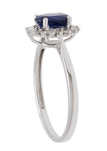 White Gold 1.20ct Genuine Sapphire and Halo Diamond Ring G-H, I1-I2