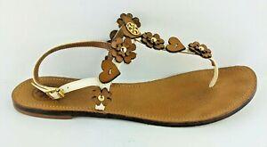 Tory-Burch-womens-size-8-5-Cori-flat-sandal-t-strap-Ivory-Royal-Tan-Gold-Logo