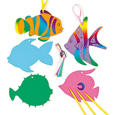 Tropical Fish Scratch Art Decorations for Kids to Design & Display (Pack of 10)