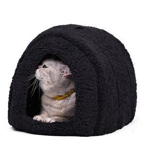 Pet-Dog-Cat-Cave-Igloo-Bed-Basket-House-Kitten-Black-Cozy-Indoor-Cushion-Kennel