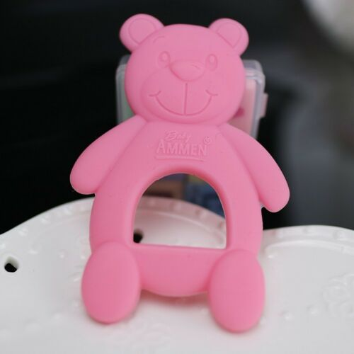 SILICONE BABY GIRL PINK TEDDY BEAR TEETHING RING BPA FREE