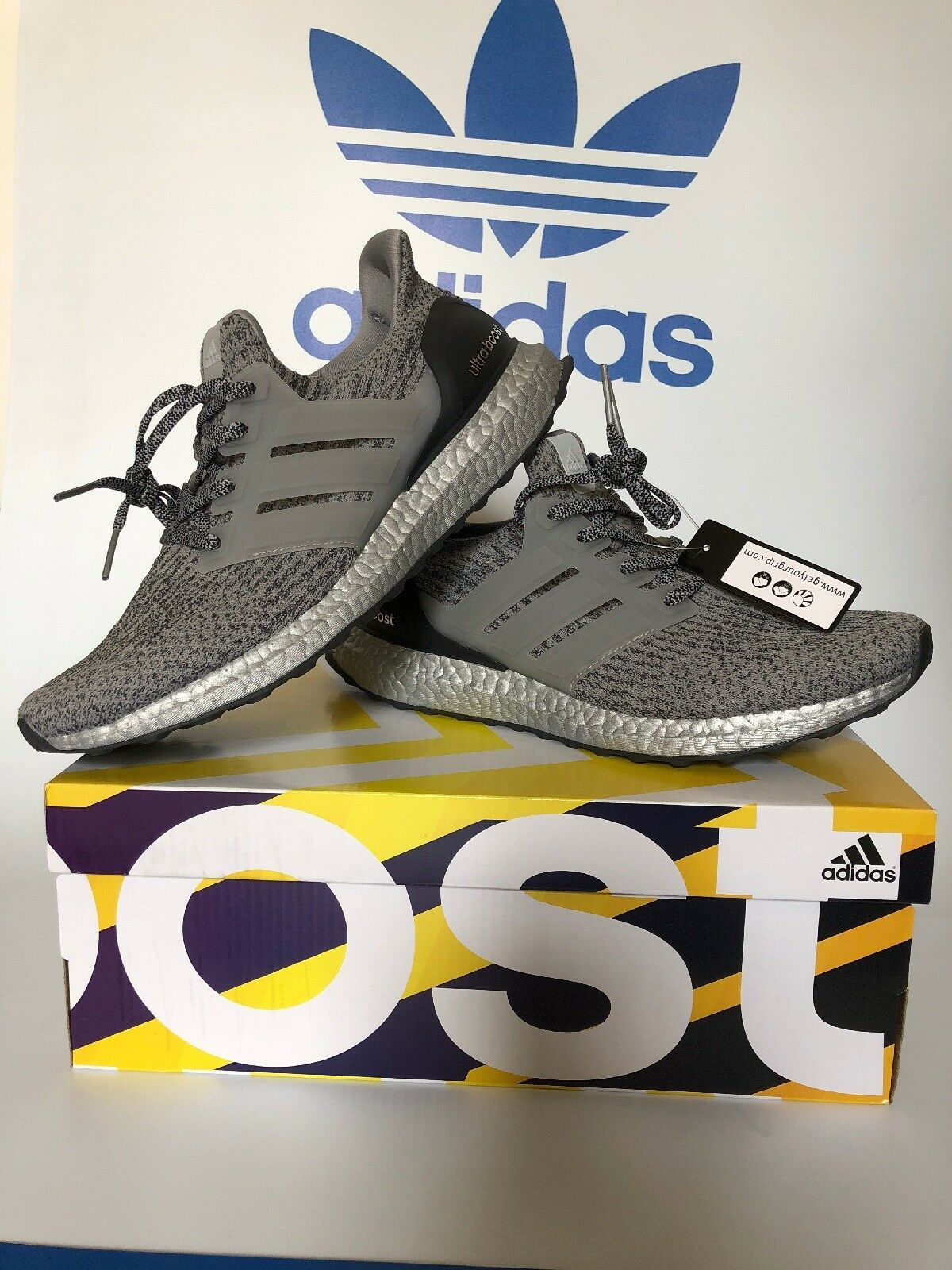 Adidas UltraBoost BA8143 Silver Pack Super Bowl Grey Mens Comfortable