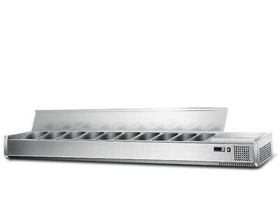 [AGS203E] Kühl Aufsatzvitrine 2,0mx0,34m - für 10x1/4 GN-Behälter