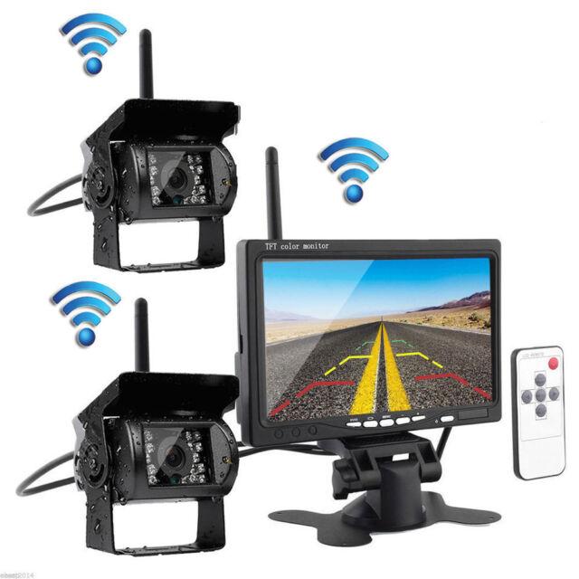 "2x Wireless IR Night Vision Truck Rear View Reverse Backup Camera + 7"" Monitor"