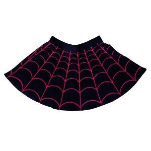 Kreepsville-666-Gothic-Horror-Punk-80s-Red-Black-Spiderweb-Skater-Skirt-Size-XL